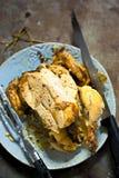 Carved roasted a galinha fotos de stock