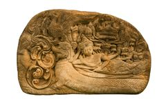 Carved sandstone  king bed Stock Image