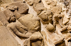 Carved sculpture in Kailasanath temple is the oldest temple of K Stock Photography