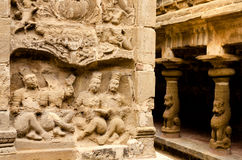 Carved sculpture in Kailasanath temple is the oldest temple of K Royalty Free Stock Images