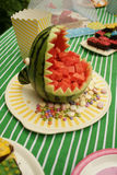 Carved shark of a watermelon stock images
