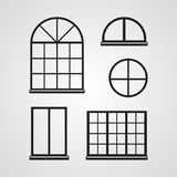 Carved silhouette flat icon, simple vector design. Set of classic glass windows for illustration of part of house, facade, decor.  vector illustration