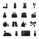 Carved Silhouette Flat Icon, Simple Vector Design. Set Of Icons On Female Theme. Lipstick, Dress, Women`s Handbag, Shoes, Perfume, Stock Photo