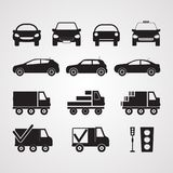 Carved silhouette flat icons, vector. Set of different cars in p Stock Image