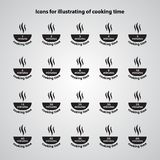 Carved silhouette. Set of flat icons, simple vector design. Dish. With steam jets for illustration of cooking time and instructions on packaging food. Symbol of Royalty Free Illustration