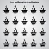 Carved silhouette. Set of flat icons, simple vector design. Dish. With steam jets for illustration of cooking time and instructions on packaging food. Symbol of Stock Illustration