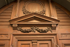Carved solid wood door in the centre of Lviv Stock Photo
