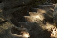 Carved stairs in sandstone cliff Royalty Free Stock Photos