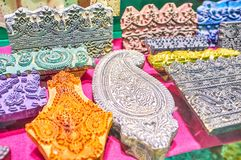 The carved stamps, Isfahan, Iran stock photos
