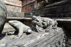 Carved stone animals on a public fountain in Kathmandu, Nepal Royalty Free Stock Images