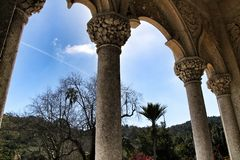Carved stone arcades and columns of Monserrate palace in Sintra. Beautiful carved stone arcades and columns of Monserrate palace in Sintra, Lisbon, Portugal royalty free stock photos