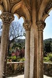 Carved stone arcades and columns of Monserrate palace in Sintra. Beautiful carved stone arcades and columns of Monserrate palace in Sintra, Lisbon, Portugal stock photography