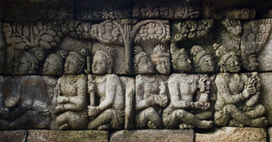 Carved stone at Borobudur temple Royalty Free Stock Photos