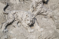 The carved stone of Chinese temple  and Tiger statue Stock Images