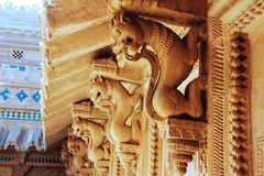 Carved Stone Cornice Support. Stone Shardulas supporting sloped cornice at Gwalior Fort, Gwalior, Madhya Pradesh, India, Asia stock photography