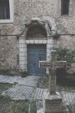 Carved stone cross. In Cuenca, Spain Stock Photography