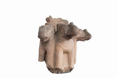 Carved in stone elephant heads antique (thailand) Stock Image