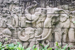 Carved stone elephant. Royalty Free Stock Photography