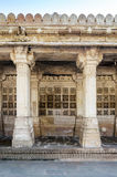 Carved stone grilles on the walls at Sarkhej Roza in Ahmedabad Royalty Free Stock Photo