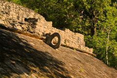 Carved stone hoop at Great Ball Court, Coba Royalty Free Stock Photography