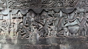 Carved Stone images on Bayon Temple, Siem reap, Cambodia
