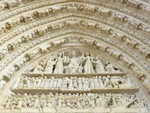 Carved stone Lintel on a church door Stock Photo