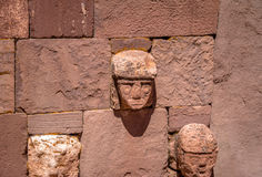 Carved Stone Tenon Heads of Kalasasaya Temple of Tiwanaku Tiahuanaco culture - La Paz Bolivia Stock Image