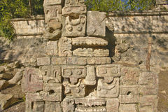 Carved stonework on the Temple of the Warriors at the ancient Mayan city of Chichen Itza, in Yucatan, Mexico Stock Photography