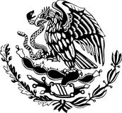 Carved style mexican coat of arms. A black and white mexican coat of arms Stock Images