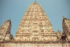 Carved temple Mahabodhi - Great Awakening - in Bodhgaya, India. Royalty Free Stock Image