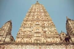 Carved temple Mahabodhi - Great Awakening - in Bodhgaya, India. royalty free stock image