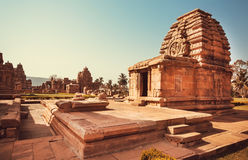 Carved temple of Pattadakal, Karnataka. UNESCO World Heritage site with stone carved structures of 7th century, India Stock Photography