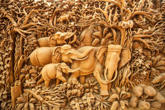 Carved Thai elephant Royalty Free Stock Photography