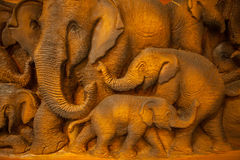 Carved Thai elephant Royalty Free Stock Images