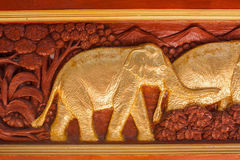 Carved Thai elephant Stock Photography