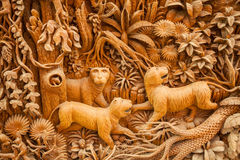 Carved Thai tiger Royalty Free Stock Image
