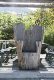 Carved throne chair made of solid wood Stock Images