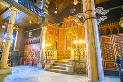 The carved Tohar Ark in Ben Ezra Synagogue, Cairo, Egypt Royalty Free Stock Photo