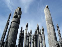 Carved Totem Poles Canada Stock Photo