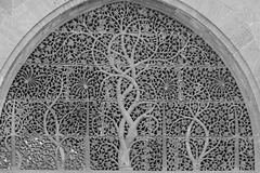 Carved Tree of Life Window. Black and white image of the tree of life carved windo at the Sidi Saiyyed Mosque Royalty Free Stock Images