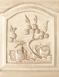 Carved of tree pattern on wooden door Stock Photo