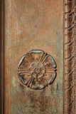 Carved Tudor Rose On A Vintage Doorway Stock Photo