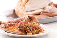 Carved turkey dinner. Holiday turkey dinner carved for serving to guests Royalty Free Stock Image