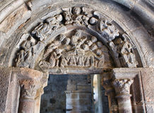 Carved tympanum in the monastery of Carracedo Royalty Free Stock Image