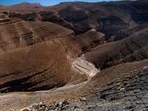 Carved valley. Morocco 2010, photo taken in around Ouarzazate and Boumalne Royalty Free Stock Photography