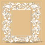 Carved vintage frame made of paper photo with shadow Royalty Free Stock Images