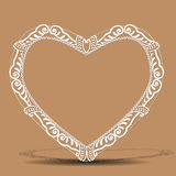 Carved vintage frame shape of heart with shadow Stock Images