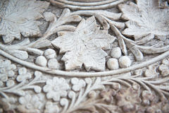 Carved Vintage Wooden Table Top Royalty Free Stock Images