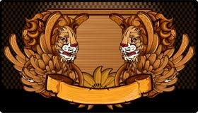 Carved voou leões ilustração stock