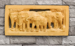 Carved wall Elephant. Stucco of elephant family Royalty Free Stock Photo